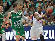 Wroclaw 19/10/2014<br /> Tauron Basket Liga<br /> Sezon 2014/2015<br /> Mecz WKS Slask Wroclaw v Stelmet Zielona Gora<br /> Na zdj. Adam Hrycaniuk /Stelmet/ i Roderick Trice /Slask/<br /> Fot. Piotr Hawalej