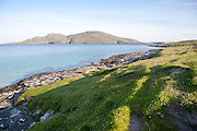 View to Sandray Island from Bagh a Deas, South Bay, Vatersay island, Barra, Outer Hebrides, Scotland, UK