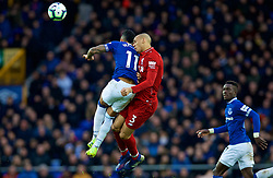 LIVERPOOL, ENGLAND - Sunday, March 3, 2019: Liverpool's Fabio Henrique Tavares 'Fabinho' challenges for a header with Everton's Theo Walcott during the FA Premier League match between Everton FC and Liverpool FC, the 233rd Merseyside Derby, at Goodison Park. (Pic by Laura Malkin/Propaganda)