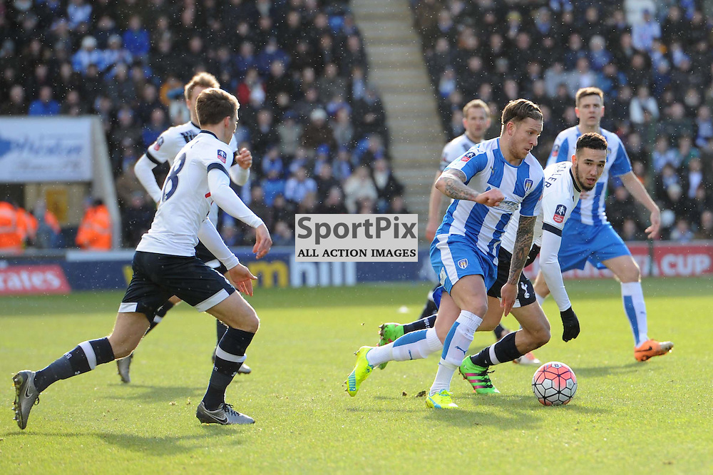 Colchesters George Moncur on the ball during the Colchester v Tottenham game in the FA Cup 4th Round on the 30th January 2016.