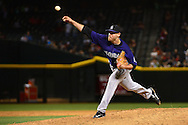 Apr 29, 2016; Phoenix, AZ, USA; Colorado Rockies relief pitcher Scott Oberg (45) pitches in the ninth inning against the Arizona Diamondbacks at Chase Field.  The Colorado Rockies won 9-0. Mandatory Credit: Jennifer Stewart-USA TODAY Sports