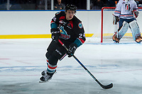 KELOWNA, CANADA - SEPTEMBER 5: Kyle Topping #24 of the Kelowna Rockets skates against the Kamloops Blazers on September 5, 2017 at Prospera Place in Kelowna, British Columbia, Canada.  (Photo by Marissa Baecker/Shoot the Breeze)  *** Local Caption ***
