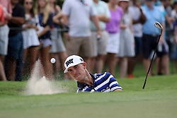 September 22, 2018 - Atlanta, GA, U.S. - ATLANTA, GA - SEPTEMBER 22:     Billy Horschel hits out of a bunker during the third round of the Tour Championship on September 22, 2018, at East  Lake Golf Club in Atlanta, GA.  (Photo by Michael Wade/Icon Sportswire) (Credit Image: © Michael Wade/Icon SMI via ZUMA Press)