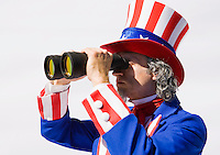 Uncle Sam looking through binoculars...Model Release: 20080813_MR_A