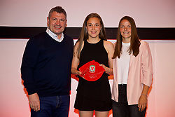 NEWPORT, WALES - Saturday, May 19, 2018: Niamh Warrender is presented with her Under-16's cap by Osian Roberts (left) and Lauren Dykes (right) during the Football Association of Wales Under-16's Caps Presentation at the Celtic Manor Resort. (Pic by David Rawcliffe/Propaganda)
