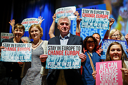 "© Licensed to London News Pictures. 28/05/2016. London, UK. Labour Shadow Chancellor JOHN MCDONNELL poses with campaigners after speaking at ""Another Europe is Possible"" rally at UCL Institute of Education in London, campaigning for a remain vote at the upcoming EU referendum.  Speakers at the event include former Greek Finance Minister Yanis Varoufakis and Green Party MP Caroline Lucas. Photo credit: Tolga Akmen/LNP"
