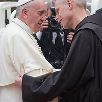 ASSISI, ITALY - OCTOBER 04:  Pope Francis is welcomed by the Guardina of S Damiano Sanctuary on October 4, 2013 in Assisi, Italy.  (Photo by Marco Secchi/Getty Images)