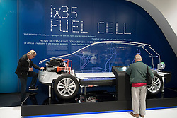 Detail of cut-away of hydrogen fuel cell concept  Hyundai ix35 car at Paris Motor Show 2012