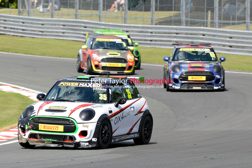 #35 Chris Oakman Mini F56 during Power Maxed Mini Challenge - F56/JCW - Race 1 as part of the Mini Festival  at Oulton Park, Little Budworth, Cheshire, United Kingdom. August 08 2015. World Copyright Peter Taylor. Copy of publication required for printed pictures.  Every used picture is fee-liable. http://archive.petertaylor-photographic.co.uk