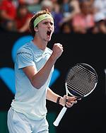 ALEXANDER ZVEREV (GER)  macht die Faust und jubelt,Jubel,Emotion,<br /> <br /> <br /> Tennis - Australian Open 2018 - Grand Slam / ATP / WTA -  Melbourne  Park - Melbourne - Victoria - Australia  - 20 January 2018.