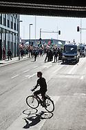 Berlin, Germany - 07.05.2016<br /> <br /> &quot;Merkel has to go!&quot; - March in Berlin's government district which various radical right-wing and right wing populist groups have mobilized. 1,800 people participate, according to the police the march. The organizers had announced in advance that they expect 5,000 participants. Thousands of people participate in counter- protests to the march . .<br /> <br /> &quot;Merkel muss weg!&rdquo;-Aufmarsch im Berliner Regierungsviertel zu dem verschiedene rechtsradikale und rechtspopulistische Gruppen aufgerufen hatten. Nach Polizeiangeaben beteiligten sich etwa 1.800 Menschen an dem Aufmarsch. Die Veranstalter hatten im Vorfeld mitgeteilt, dass sie 5.000 Teilnehmer erwarten. Tausende Menschen beteiligten sich an Gegenprotesten zu dem Aufmarsch.<br /> <br /> Photo: Bjoern Kietzmann