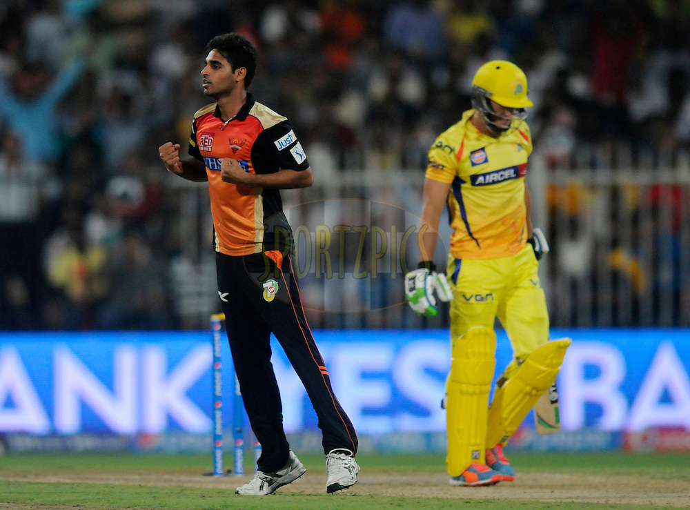 Bhuvneshwar Kumar of the Sunrisers Hyderabad celebrates the wicket of Faf du Plessis of The Chennai Superkings during match 16 of the Pepsi Indian Premier League 2014 between the Delhi Daredevils and the Mumbai Indians held at the Sharjah Cricket Stadium, Sharjah, United Arab Emirates on the 27th April 2014<br /> <br /> Photo by Pal Pillai / IPL / SPORTZPICS