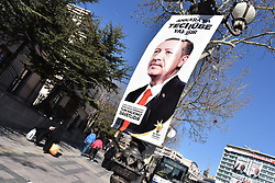 March 30, 2019 - Ankara, Turkey - An election banner picturing Turkish President Recep Tayyip Erdogan is seen in Ulus district ahead of the upcoming local elections. (Credit Image: © Altan Gocher/ZUMA Wire)