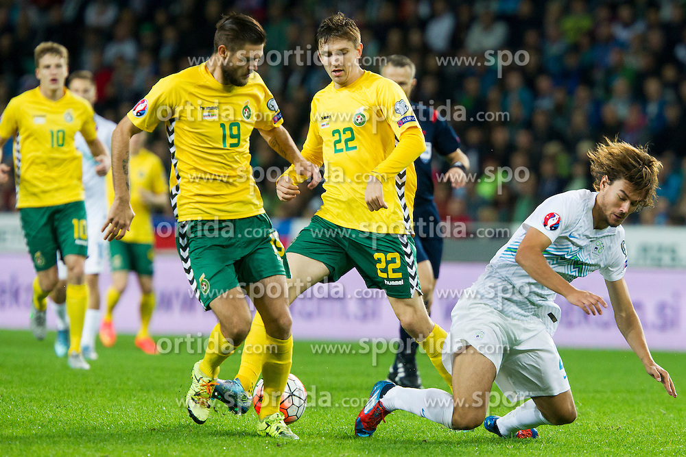Lukas Spalvis, Fiodor Cernych of Lithuania and Rene Krhin of Slovenia during the EURO 2016 Qualifier Group E match between Slovenia and Lithuania, on October 9, 2015 in SRC Stozice, Ljubljana Slovenia. Photo by Urban Urbanc / Sportida