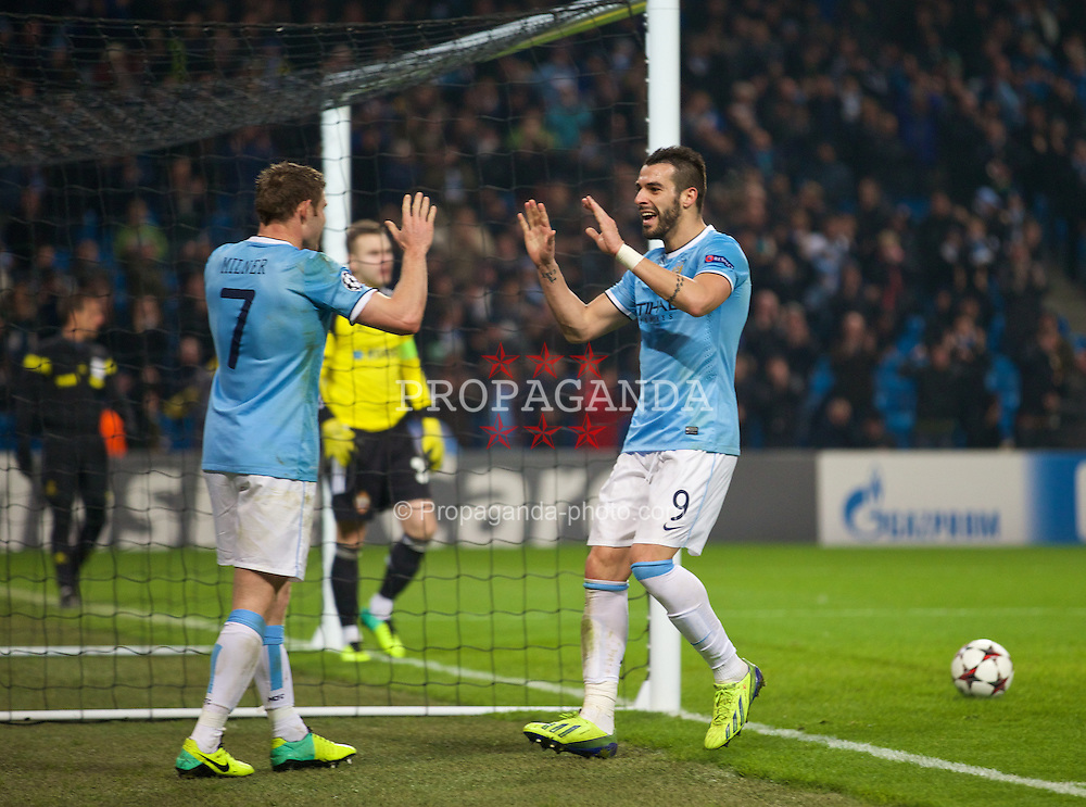 MANCHESTER, ENGLAND - Tuesday, November 5, 2013: Manchester City's Alvaro Negredo celebrates scoring the fifth goal against CSKA Moscow, his hat-trick third, during the UEFA Champions League Group D match at the City of Manchester Stadium. (Pic by David Rawcliffe/Propaganda)