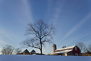 Goshen, New York - Snow-covered fields and farm buildings on Feb. 10, 2013.