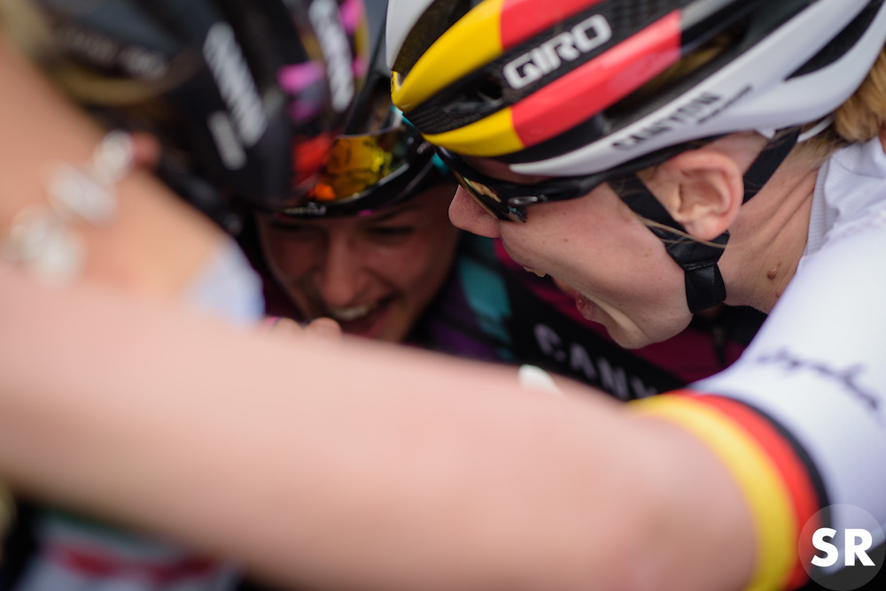 """""""We are BOMBERS!"""" - CANYON//SRAM Racing team huddle of the stage win at the 116 km Stage 5 of the Boels Ladies Tour 2016 on 3rd September 2016 in Tiel, Netherlands. (Photo by Sean Robinson/Velofocus)."""