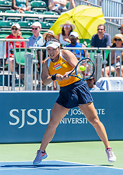 August 5, 2018 - San Jose, CA, U.S. - SAN JOSE, CA - AUGUST 05: Latisha Chan (TPE) places a backhand during the WTA Doubles Championship match at the Mubadala Silicon Valley Classic on the San Jose State University Stadium Court in San Jose, CA  on Sunday, August 5, 2018. (Photo by Douglas Stringer/Icon Sportswire) (Credit Image: © Douglas Stringer/Icon SMI via ZUMA Press)