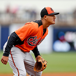 Mar 2, 2013; Port Charlotte, FL, USA; Baltimore Orioles third baseman Manny Machado (13) in the field during the bottom of the fourth inning of a spring training game against the Tampa Bay Rays at Charlotte Sports Park. Mandatory Credit: Derick E. Hingle-USA TODAY Sports