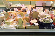 Interior of a supermarket, Cheese display photographed in Israel