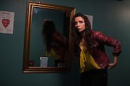 Paleoanthropologist and comedian Aalaa Al Shamahi prepares to go onstage in the greenroom of the Finsbury pub in London  Wednesday, May 20, 2015 Al Shamahi who specialises in the study of Neanderthals is one of National Geographic's emerging explorers.(Elizabeth Dalziel for National Geographic )