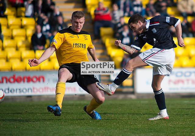 Livingston v Dundee, SFL Division 1 League Match, Falkirk Stadium, 03/03/12, Jamie McCluskey fires in the opening goal