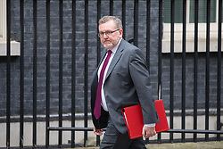 © Licensed to London News Pictures. 12/04/2018. London, UK. Secretary of State for Scotland David Mundell arriving in Downing Street to attend a 'War Cabinet' meeting this afternoon. Discussion is expected on Britain's involvement on military action in Syria, following a suspected chemical attack. Photo credit : Tom Nicholson/LNP