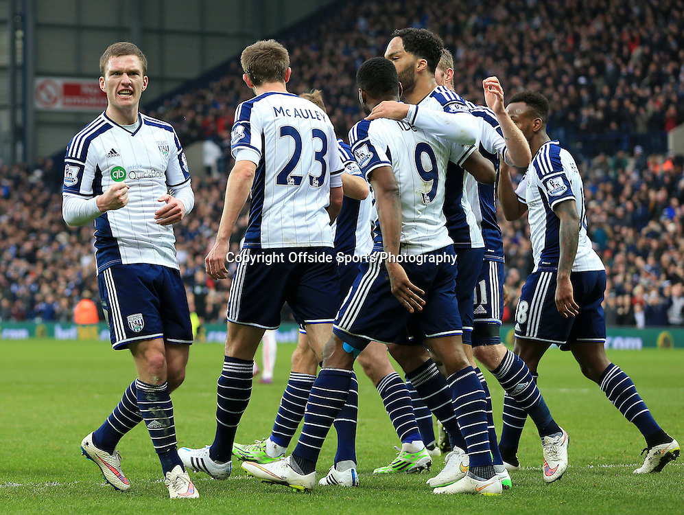14th March 2015 - Barclays Premier League - West Bromwich Albion v Stoke City - West Bromwich Albion celebrate Brown Ideye's goal (1-0) - Photo: Paul Roberts / Offside.