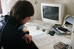 Rok Benkovic of Slovenia, World Ski Jumping Champion 2005 in Oberstdorf during study at his home in Kamnik, on March 24, 2005 in Kamnik, Slovenia. (Photo By Vid Ponikvar / Sportida.com)