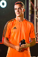 """Real Madrid player Lucas Vazquez during the presentation of the new pack of Adidas football shoes """"Speed of Light"""" in Madrid. September 16, 2016. (ALTERPHOTOS/Borja B.Hojas)"""
