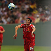 Martin Kelly, Liverpool, takes a throw-in during the Liverpool Vs AS Roma friendly pre season football match at Fenway Park, Boston. USA. 23rd July 2014. Photo Tim Clayton