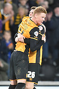 Hull City midfielder Sam Clucas celebrates scoring for Hull City to go 2-0 up during the Sky Bet Championship match between Hull City and Middlesbrough at the KC Stadium, Kingston upon Hull, England on 7 November 2015. Photo by Ian Lyall.