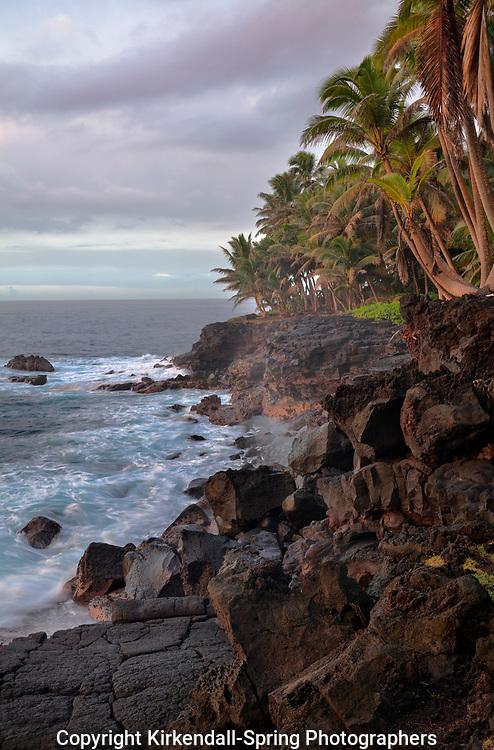 HI00313-00...HAWAI'I - Rocky shoreline along the Kaimu-Kapoho Road (Red Road) on the island of Hawai'i.