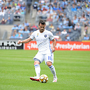 Vako Qazaishvli of the San Jose Earthquakes during a MLS soccer game against the New York City FC, Saturday, Sept. 14, 2019, in New York.NYCFC defeated San Jose Earthquakes 2-1.(Errol Anderson/Image of Sport)