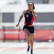 23 March 2018: Lakin Hatcher competes in the 200 meter dash open event Friday afternoon at the 40th Annual Aztec Invitational.<br /> More game action at sdsuaztecphotos.com