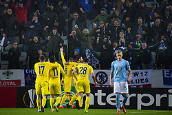 February 14, 2019 - MalmÅ, Sweden - 190214 Players of Chelsea celebrate Ross Barkley scored 0-1 with fans while SÅ¡ren Rieks of MalmÅ¡ FF looks dejected in the foreground during the Europa league match between MalmÅ¡ FF and Chelsea on February 14, 2019 in MalmÅ¡..Photo: Ludvig Thunman / BILDBYRN / kod LT / 92225 (Credit Image: © Ludvig Thunman/Bildbyran via ZUMA Press)