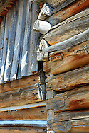 Detail of a pioneer barn from the Mormon settlement in Grand Tetons National Park.