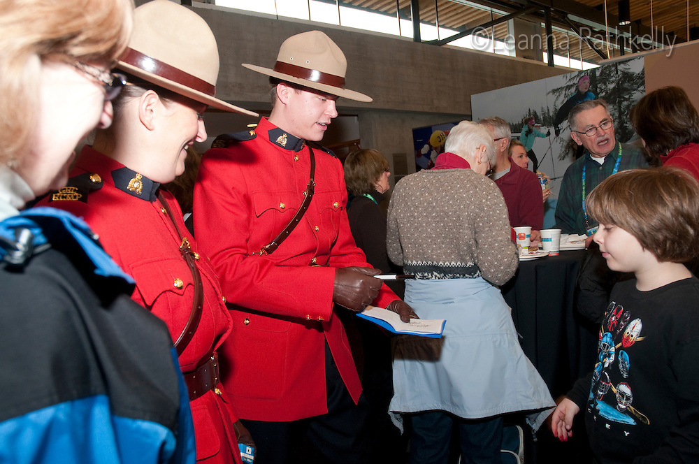 RCMP appear in uniform during the Pancake Breakfast at Canada House in Whistler during the 2010 Olympic Winter Games.