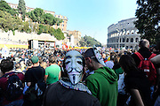 """Clashes in Rome during rally of """"indignati"""" all over the world."""