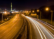 On the Ponsonby off ramp bridge looking over motorway towards Auckland city,  pre dawn on Sunday morning. New Zealand