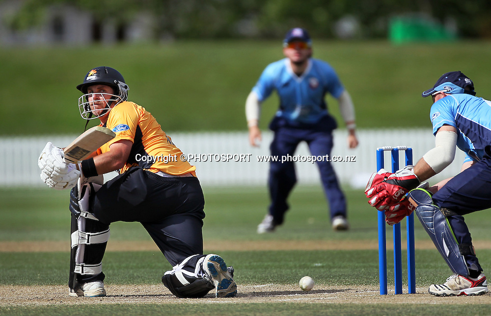 Michael Papps batting for Wellington. Auckland Aces v Wellington Firebirds,   Ford Trophy one day game held at Burt Sutcliffe Oval, Lincoln, Friday 25 November 2011. Photo : Joseph Johnson / photosport.co.nz