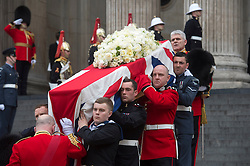 Lady Thatcher's coffin being carried from St Paul's, St Paul's Cathedral, London, UK, on Wednesday 17 April, 2013, Thursday 18 April, 2013 Photo by: i-Images