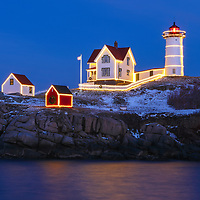 Nubble Lighthouse with Holidays Decoration taken at sunset in York, Maine. Loved watching this sunset burst into colors and capturing the Christmas Lights while the last light of the day created a beautiful sky across one of Maine's most iconic Christmas light scenes.<br /> <br /> Maine Cape Neddick Light fine art photography is available as museum quality photography prints, canvas prints, acrylic prints or metal prints. Prints may be framed and matted to the individual liking and room decor needs:<br /> <br /> https://juergen-roth.pixels.com/featured/nubble-light-with-holidays-decoration-juergen-roth.html<br /> <br /> My best,<br /> <br /> Juergen<br /> Prints: http://www.rothgalleries.com<br /> Photo Blog: http://whereintheworldisjuergen.blogspot.com<br /> Instagram: https://www.instagram.com/rothgalleries<br /> Twitter: https://twitter.com/naturefineart<br /> Facebook: https://www.facebook.com/naturefineart