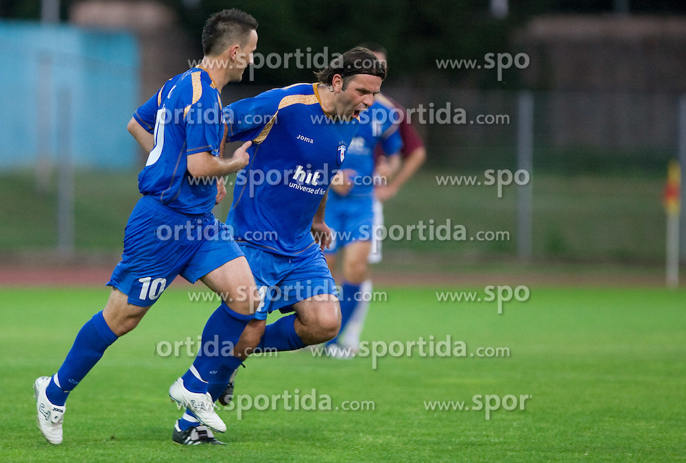 Admir Krsic and Enes Demirovic celebrate at 1st football match of 2nd preliminary Round of UEFA Europe League between ND Gorica and FC Lahti, on July 16 2009, in Nova Gorica, Slovenia. (Photo by Vid Ponikvar / Sportida)
