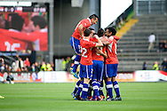 14.09.13. Brondby, Denmark.Chile's team celebrates after scoring the fourth goal during the international friendly match at the Brondby Stadium in Denmark.Photo: © Ricardo Ramirez