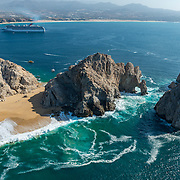 Aerial view of Lands End arch and Cabo San Lucas Bay.