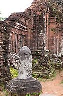 Shiva Lingam, a phallic symbol in Group D of the group D,  Cham Temple ruins at the My Son Sanctuary, Quang Nam Province, Vietnam, Southeast Asia
