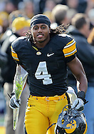November 12, 2011: Iowa Hawkeyes defensive back Jordan Bernstine (4) takes the field before the start of the NCAA football game between the Michigan State Spartans and the Iowa Hawkeyes at Kinnick Stadium in Iowa City, Iowa on Saturday, November 12, 2011. Michigan State defeated Iowa 37-21.