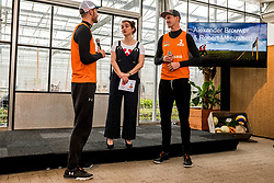 28-03-2018 NED: Kickstart Food van Rabobank, Utrecht<br /> A clever mix of the tastiest seasonal vegetables for the sports public, coming from Dutch local companies. That is the core of the new food program that enables Rabobank and the Nevobo at the Moestuin in Utrecht / (L-R) Alexander Brouwer, presenter Sofie van den Enk, Robert Meeuwsen