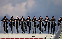 Police watching the football match between NK Triglav Gorenjska and NK Olimpija, played in the 9th Round of Prva liga football league 2010 - 2011, on September 19, 2010, Mestni stadion, Kranj, Slovenia. Olimpija defeated Triglav 5 - 0. (Photo by Vid Ponikvar / Sportida)